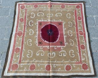 3.08' x 3.43' Suzani Vintage Suzani Old Embroidery Suzani Wall Hanging Uzbek Suzani Table Cover Ethnic Suzani FAST SHIPMENT with ups - 10957