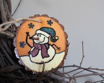 Snowman log slice ornament rustic tree ornament Christmas snowman hostess gift rustic country log