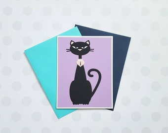 pussycat paper art love, engagement, anniversary, birthday, blank greeting card