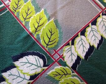 1940's Leaf Barkcloth Fabric Piece, Leaf Pattern Barkcloth, Barkcloth, 1940's, Leaf, Geometric, MCM, Deco, Green, Chartreuse, Gray, Maroon