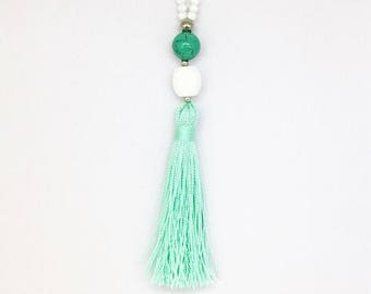 White and Mint Long Beaded Necklace. Pastel Mint tassel necklace. Summer fringe Necklace. White everyday necklace