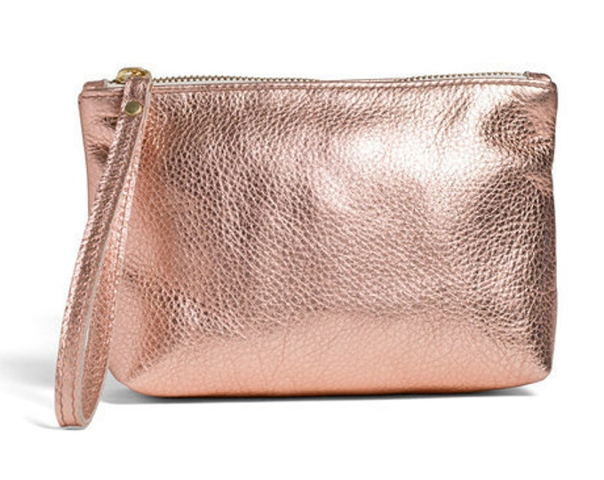 Rose Gold leather pouch, small leather clutch, leather cosmetic bag