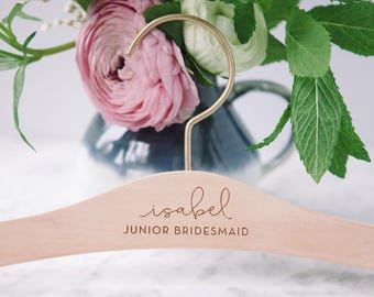 Flower Girl Wedding Dress Hanger, Jr. Bridesmaid Hangers, Calligraphy Hanger, Personalized Engraved Hanger, Bridesmaid Gifts, Bridal Party