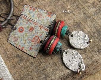 Earrings bohemian-tribal look-asian spirit-rustic earrings-ethnic earrings-vintage spirit-bohemian look-turquoise-coral red