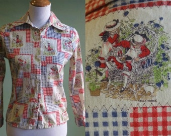 1970s Hobby Hobbie Button Front Shirt - Butterfly Collar - Small
