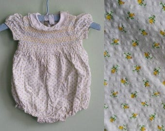 1950's Yellow Roses Smock Top Bubble Romper- Toddler Girl - 12 Months - Vintage Baby Clothing