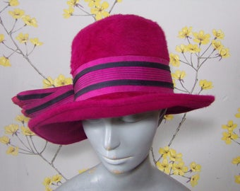 Vintage 1960s Cerise Fur Felt Cloche With Wide Ribbon Winter Hat Fur Felt Fuschia Hat By Ransom London