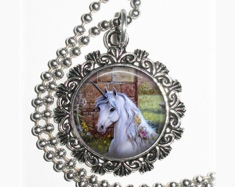 Magical White Unicorn, Fairy Tales Necklace Resin Pendant, Unicorn with Flowers Photo Charm
