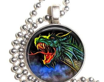 Green Dragon Altered Art Photo Pendant, Earrings and/or Keychain Round, Silver and Resin Charm Jewelry