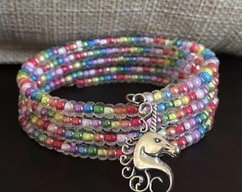 Unicorn Bracelet, Memory Wire Bracelet, Rainbow Wrap, Graduation Gift for Daughter