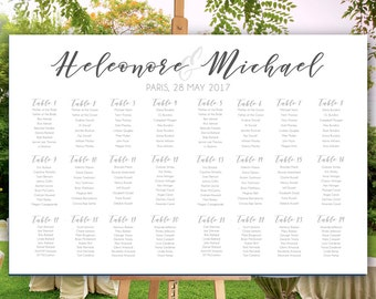Calligraphy Wedding Seating chart   Printable Seating Chart   Elegant and trendy wedding reception decor   Tableau marriage