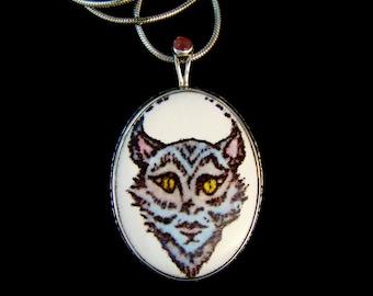 Lady Lynx Enamel Pendant