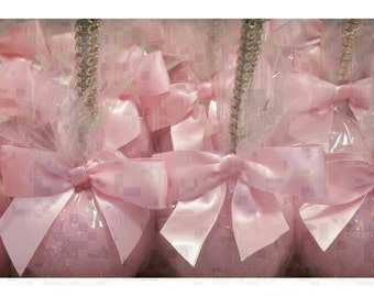 24 glittered gold bling sticks candy Apple's 12 light pink 12 lavender