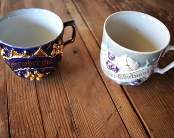 vintage lusterware mugs set of two: blue and gold mugs, remember me