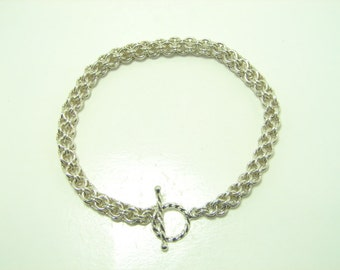 Open Round Chain Maille Sterling Silver Bracelet, Chain Mail  Sterling Silver Bracelet, Handmade Sterling Silver Bracelet