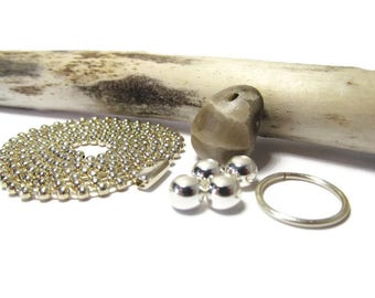 Petite Petoskey, Petoskey Stone, Lake Michigan, Top Drilled, Silver Plate Jump Ring, Silver Plate Bead, Jewelry Kit, DIY, 24 In Silver Chain