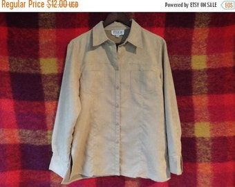 SALE Faux Suede Shirt Button down Size M L