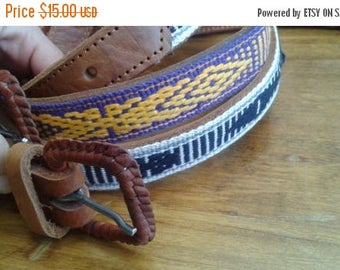 SALE Guatemalan Leather Belts Embroidered Vintage S M L