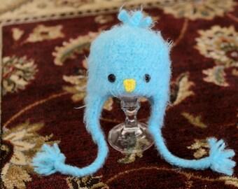 READY To SHIP! Fuzzy Blue Spring Chick Crochet Hat -  0-3 Month - Baby Blue Bird Crochet Hat
