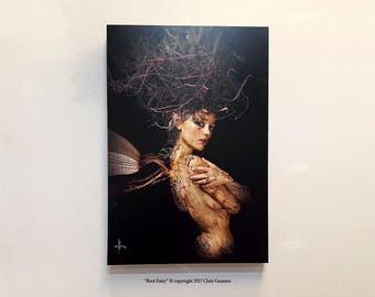 """Fairytale, implied nude, dragon fly wings, Fairy Art, Fantasy Art, """"The Root Fairy"""" Gallery Wrap Canvas, Woodland Creature, Folklore Artwork"""