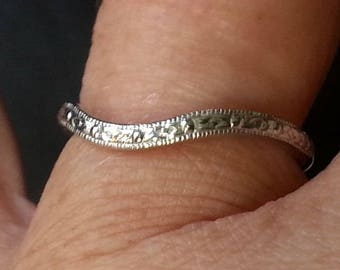 Antique Reproduction Wedding Band - Antique Style Curved Wedding Band
