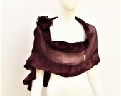 Burgundy Silk Evening Shawl