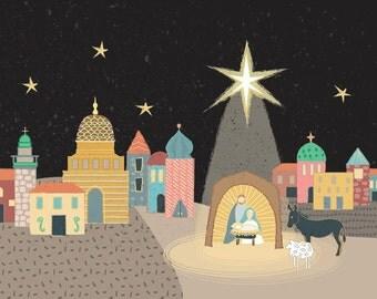 "Christmas Nativity Art - ""Joy is Born""  digital download"