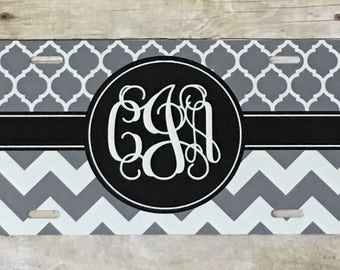 Gray and black personalized license plate