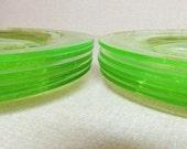 "Green Uranium Glass Lunch Plates Roulette Pattern, Nine 8"", Bright Apple Green Glass"