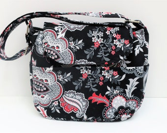 Paisley Black Red White Purse, Cross Body Adjustable Strap, Tote Bag, Outside Pocket, Cross Body Bag, Travel Purse, Handmade Bag, Diaper Bag