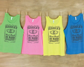 Last Bash in Nash Tennessee whiskey inspired Bachelorette party neon beach tanks