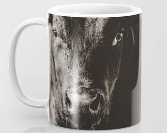 Coffee Mug - Come To Papa | Black Angus Bull | Ceramic Coffee Mug With Black & White Photography | Great Father's Day Gift | Dishwasher Safe