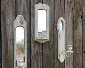 3 Vintage Mirrored Wall Sconce - Shabby Chic White