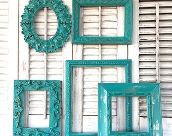 Turquoise Ornate Wall Frames - Open Frame Gallery - 5 Pc