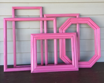 Large Bright Pink Wall Gallery Frames / 5 Wooden Open-Empty Frames / Large & XLarge Frames for Kids Art Wall
