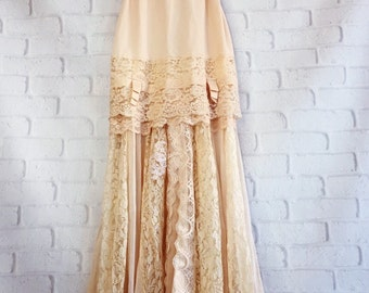 tan blush & cream lace boho wedding dress by mermaid miss kristin