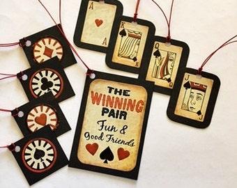 The Winning Pair Gift Tag Set, gambling gift tags, Christmas gift tags, gift tags, poker gift tags, cute gift tags
