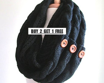 BUY 2 GET 1 FREE Black Infinity Circle Loop Scarf Braided Cable Lightweight Knit Neckwarmer Scarves with Buttons Women Girls Accessories