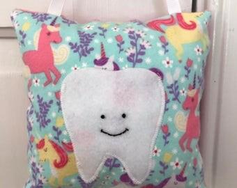 Tooth Fairy Pillow - Pink and Aqua Unicorns Pillow