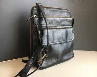 Relic by Fossil Black Leather Crossbody Sachel Handbag