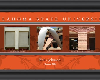 PERSONALIZED & FRAMED NCAA Oklahoma State Cowboys Letter Art Sports Prints
