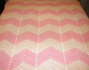 REDUCED LARGE Handmade Pink and Ivory Chevron Knit Crochet Throw