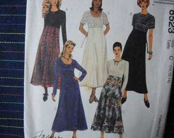 vintage 1990s sewing pattern McCalls 8523 misses high waisted dress size 10-12-14