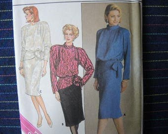 vintage 1980s Butterick sewing pattern 3413 Misses top and skirt two piece dress UNCUT size 14
