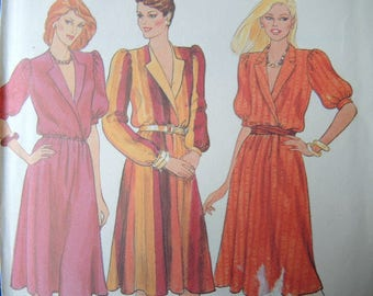 vintage 1980s Butterick sewing pattern 4163 Misses loose fitting dress size 6-8-10 uncut