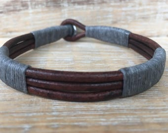 Men's Leather Cuff Bracelet, Genuine Leather Bracelet, Stainless Steel Bracelet, Gift for Him, Unisex Bracelet, Made in USA, Husband Gift