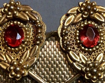 Antique gold gilded filigree shoe clips/dress clips with red paste rhinestones