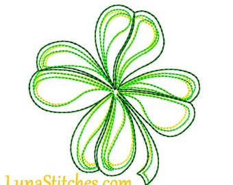 Green Shamrock Sketched Quick Stitch Embroidery design     INSTANT DOWNLOAD