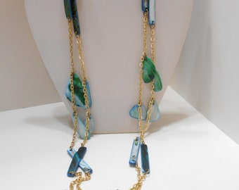 """Vintage 60"""" Blue Mother Of Pearl Necklace (6670)"""