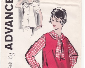 "FF RARE Advance 9448 50s Maternity Blouse and Overblouse Vintage Sewing Pattern - Size 14, Bust 34"", UNCUT"